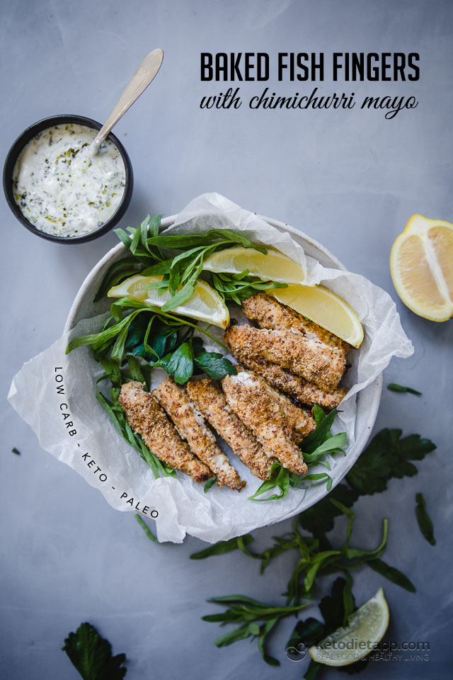 Keto fish fingers with chimichurri mayo ketodiet blog for Fish only diet