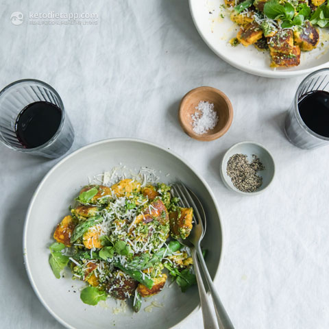 Low-Carb Pumpkin Gnocchi with Cheese & Pesto