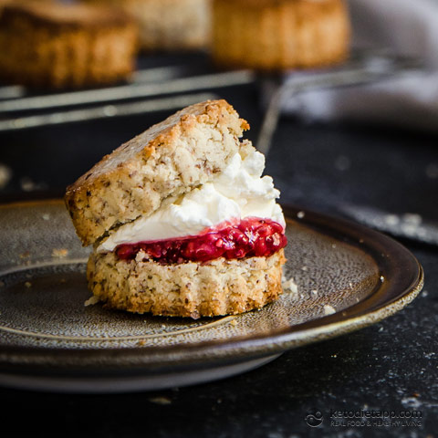 Keto Scones with Berry Jam & Cream