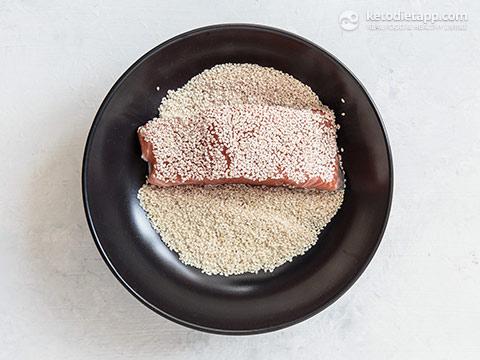 Sesame Crusted Salmon with Coconut Cauli-Rice