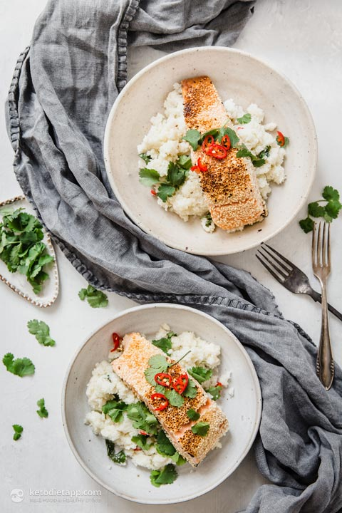 Healthy Sesame Crusted Salmon with Coconut Cauli-Rice