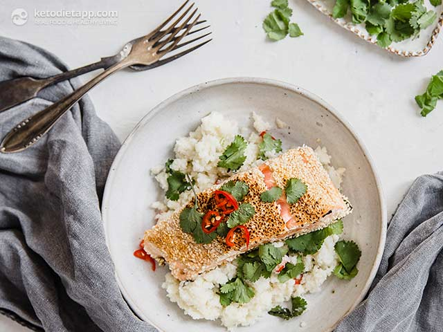 Keto Sesame Crusted Salmon with Coconut Cauli-Rice