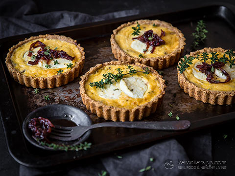 Keto Goat Cheese Tarts with Caramelized Onion