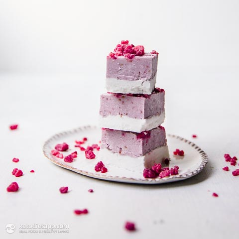 Low-Carb Raspberry Coconut Ice Bars