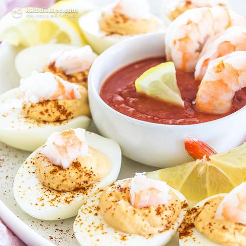 Keto Shrimp Cocktail Deviled Eggs