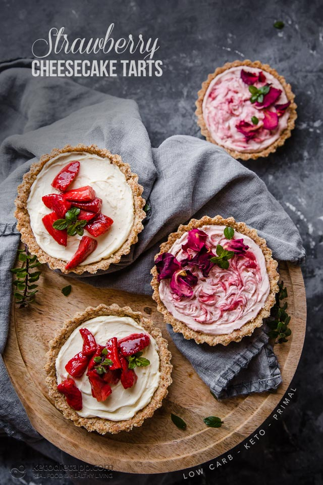 Keto Strawberry Cheesecake Tarts