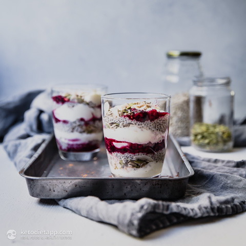 Low-Carb Chia Berry Yogurt Parfaits