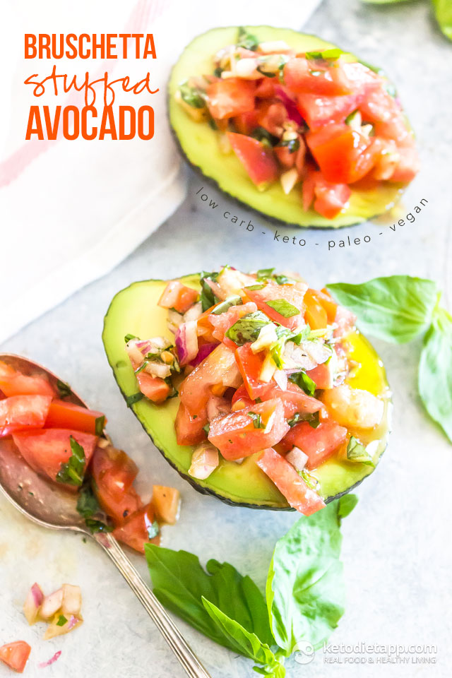 Healthy Low-Carb Bruschetta Stuffed Avocado