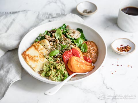 Low-Carb Veggie Full English Breakfast Bowl
