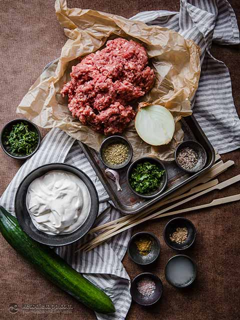Healthy Lamb Koftas with Cucumber Raita