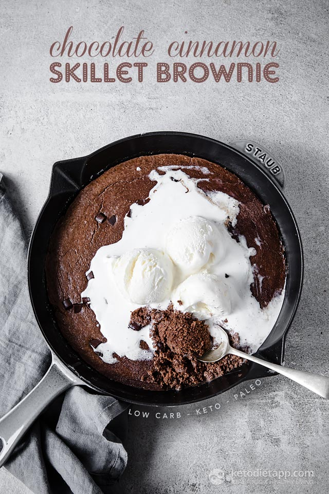 Low-Carb Chocolate Cinnamon Skillet Brownie