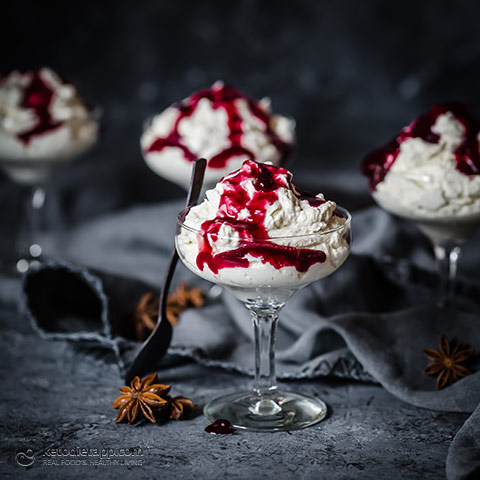 Low-Carb Mascarpone Mousse with Blackberry and Star Anise Sauce