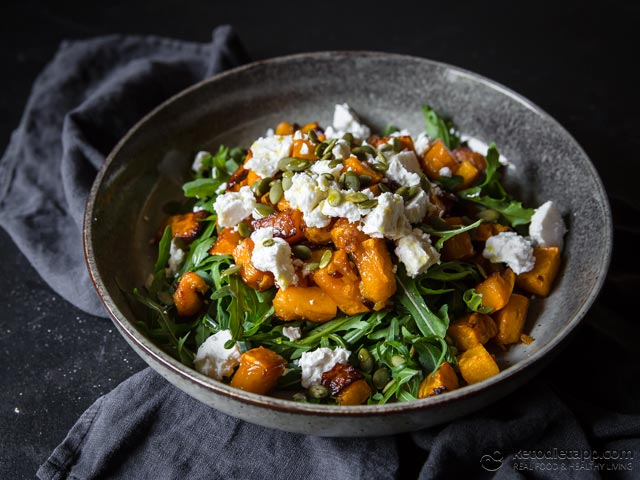 Low-Carb Roasted Pumpkin Salad with Feta & Rocket
