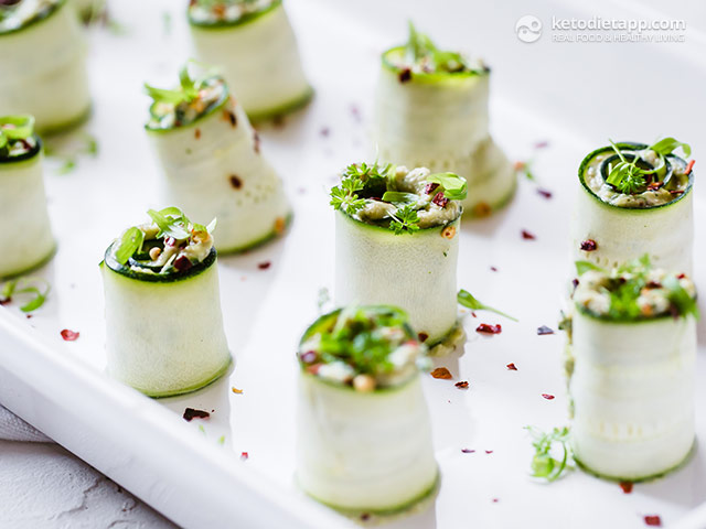 Low-Carb Zucchini Pesto Roll-Ups