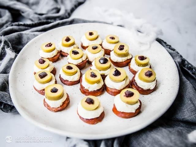 Spooky Halloween Chorizo Olive Eyeballs