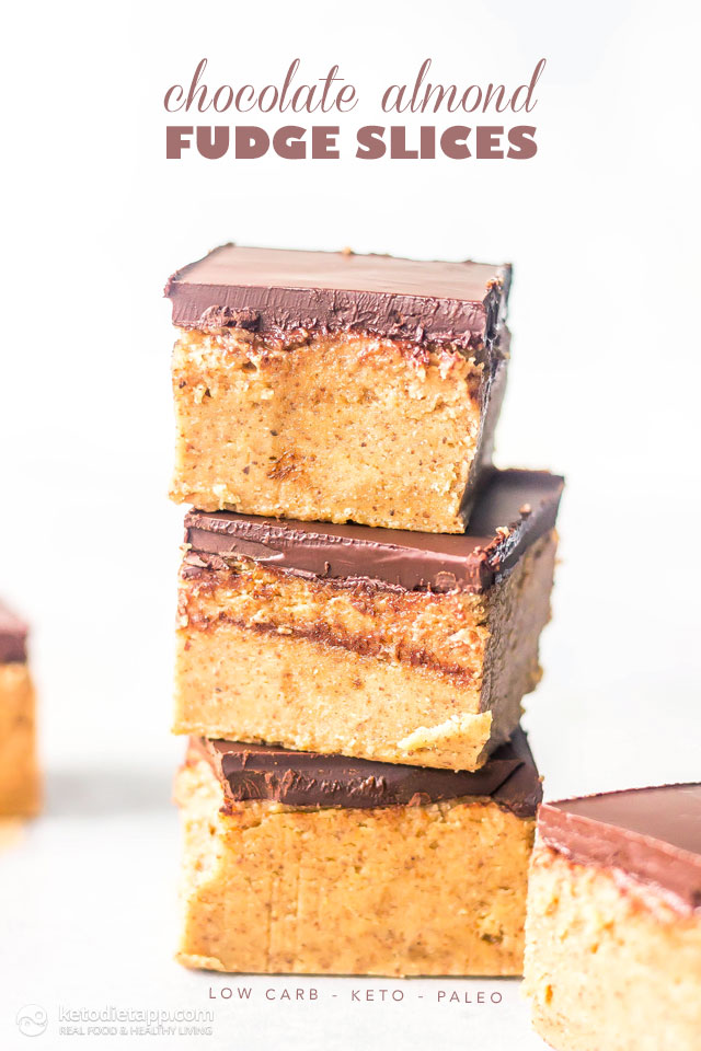 Keto Chocolate Almond Fudge Slices