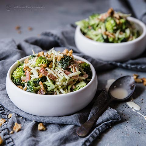 Keto Broccoli Stem Bacon Slaw