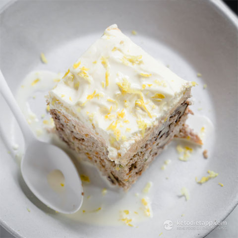 Low-Carb Carrot, Zucchini & Lemon Curd Poke Cake