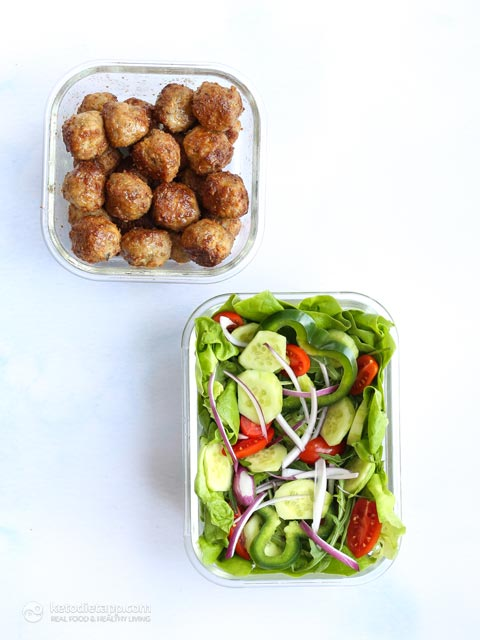 Low-Carb Mediterranean Meatball Lunch Bowls