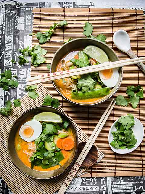 Low-Carb Vegetable Laksa with Shirataki Noodles