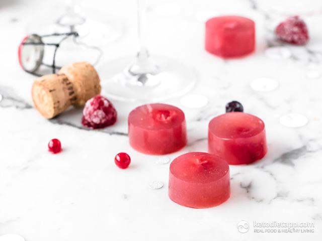 Sweetener-Free Raspberry Prosecco Jellies