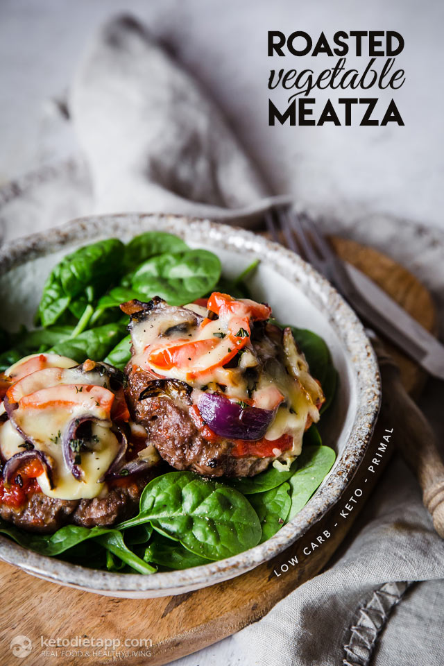 Keto Roasted Vegetable Meatza