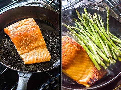 Salmon with Asparagus & Quick Blender Hollandaise