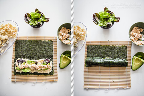 Keto Spicy Salmon Sushi Rolls