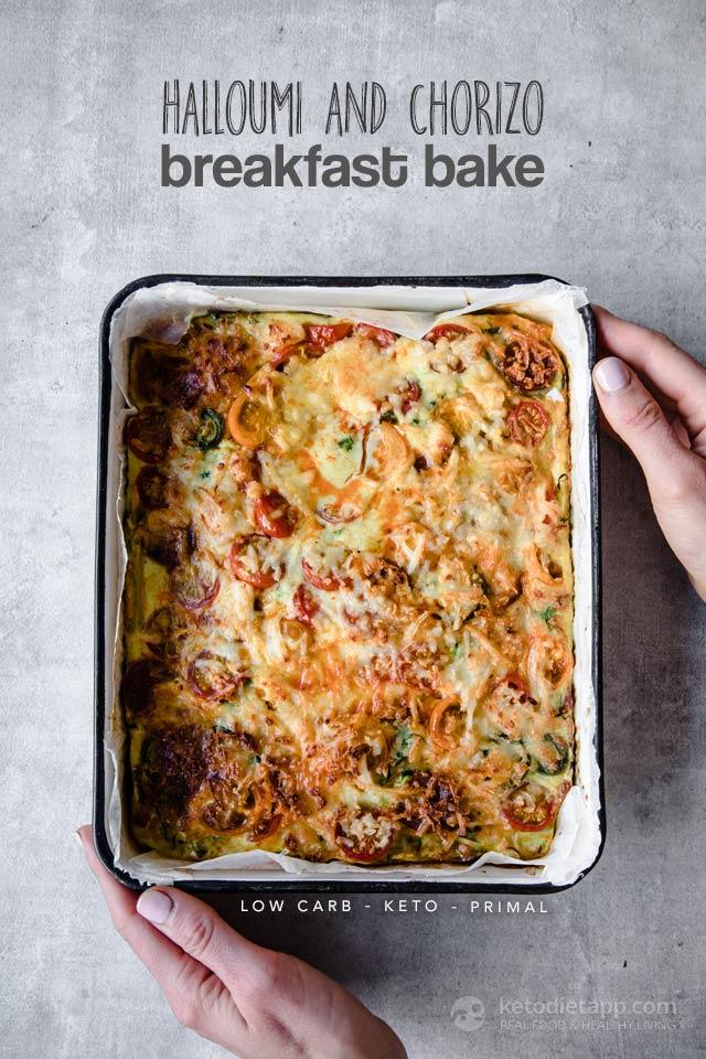 Low-Carb Halloumi & Chorizo Breakfast Tray Bake