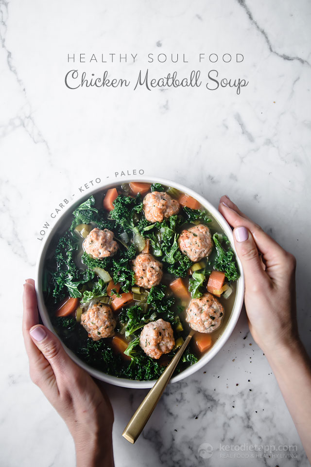 Healthy Soul Food Chicken Meatball Soup