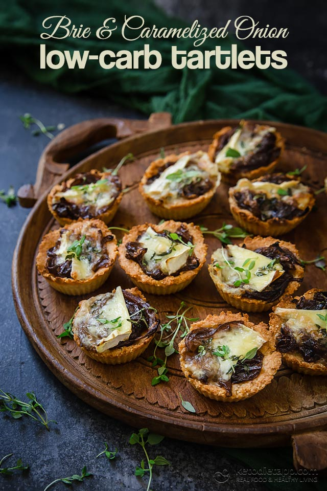 Low-Carb Brie and Caramelized Onion Tartlets