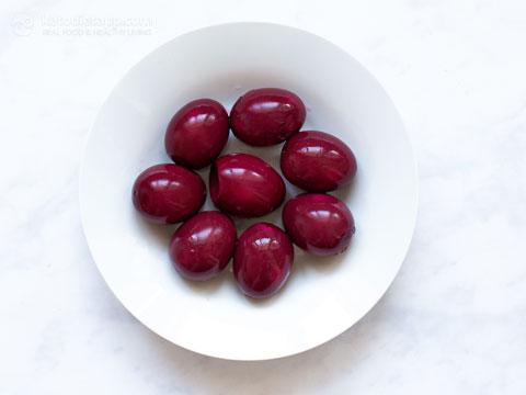 Pink Pickled Deviled Eggs