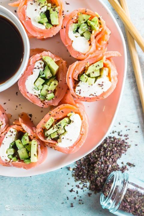 Keto Sushi Smoked Salmon Roll-Ups