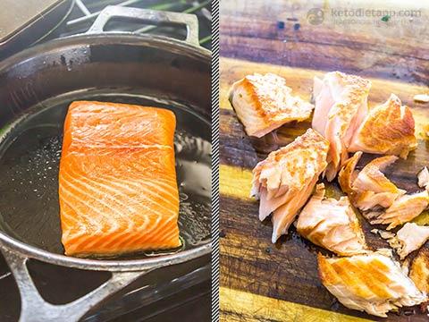 Crispy Salmon Caprese Salad