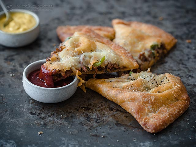 Keto Fat Head Cheeseburger Calzone