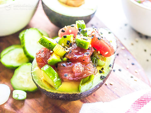 Low-Carb Tuna Poke Stuffed Avocados