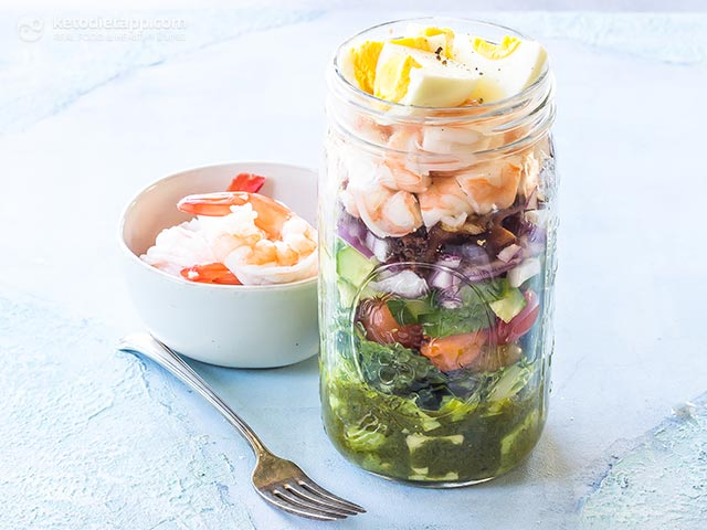 Low-Carb Shrimp Cobb Salad Jars