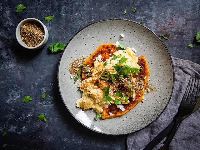 Moroccan Scrambled Eggs with Roasted Pumpkin