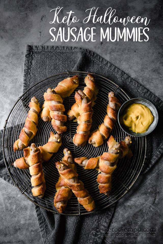 Keto Halloween Sausage Mummies
