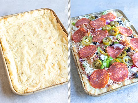 Low-Carb Sheet Pan Pepperoni Pizza