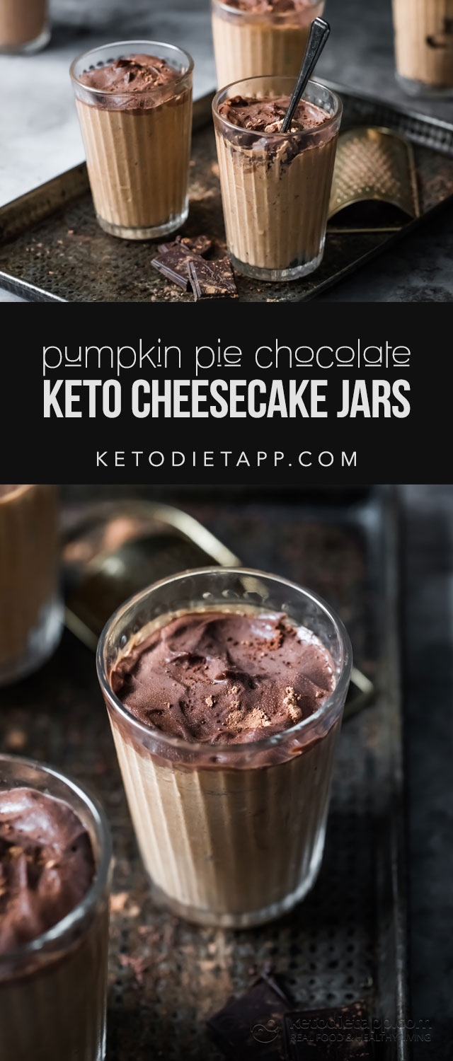 Keto Pumpkin Pie Chocolate Cheesecake Jars