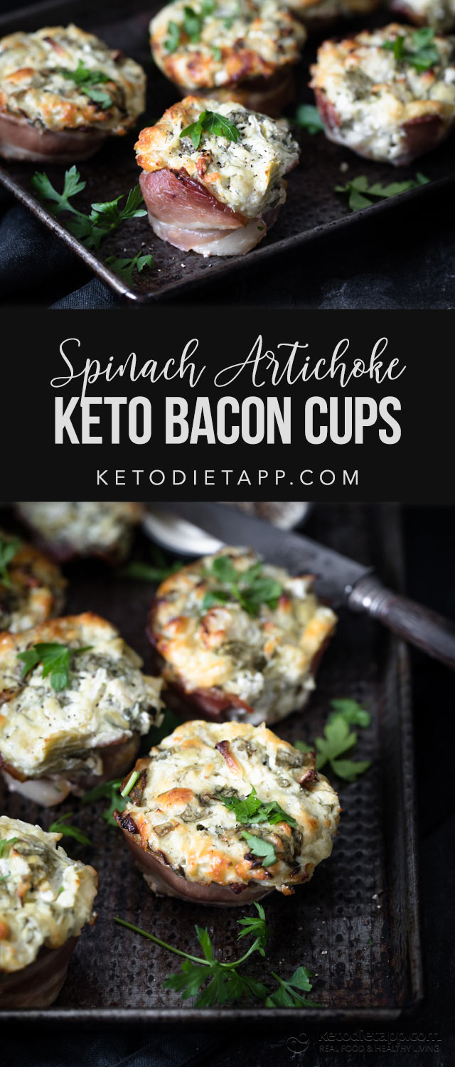 Low-Carb Spinach Artichoke Bacon Cups