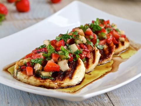 Grilled Halloumi With Strawberry & Cucumber Salsa