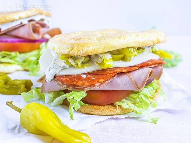 Low-Carb Oopsie Roll Italian Sandwich