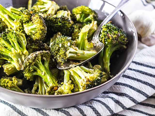 Low-Carb Roasted Marinated Broccoli