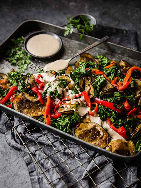 Grilled Eggplant Salad with Tahini Dressing