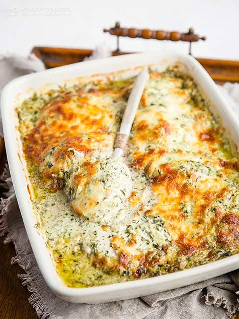 Keto Chicken Spinach & Artichoke Casserole