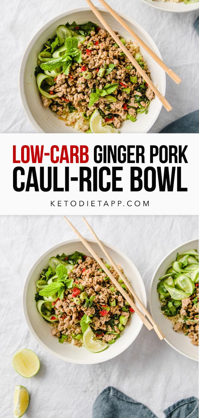 Keto Ginger Pork Cauliflower Rice Bowl