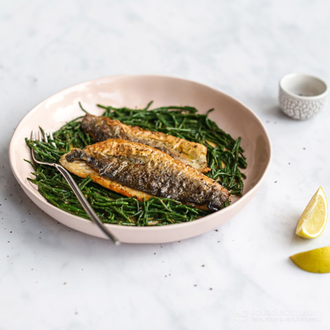 Pan-Fried Sea Bass with Butter Samphire