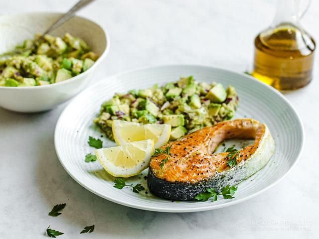 Pan Seared Salmon with Chunky Avocado Salad